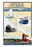 Straits of Mackinac, Michigan - Nautical Chart Posters by  Lantern Press