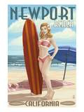 Newport Beach, California - Pinup Surfer Girl Print by  Lantern Press
