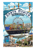 Santa Monica, California - Montage Scenes Poster by  Lantern Press