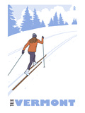 Cross Country Skier - Vermont Print by  Lantern Press