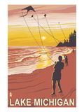 Lake Michigan - Sunset Kite Flyers Print by  Lantern Press