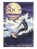 Seal Beach, California - Night Surfer Posters by Lantern Press 