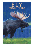 Ely, Minnesota - Moose at Night Prints by Lantern Press