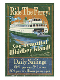 Whidbey Island, Washington - Ferry Prints by Lantern Press 