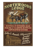 Minnesota - Moose Northwoods Lodge Prints by  Lantern Press