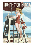 Huntington Beach, California - Lifeguard Pinup Prints by  Lantern Press