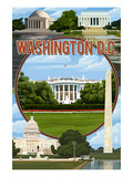 Washington DC - Montage Prints by  Lantern Press