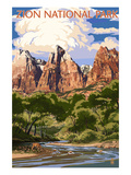 Zion National Park - Virgin River and Peaks Art by  Lantern Press