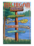 Petoskey, Michigan - Sign Destinations Prints by  Lantern Press