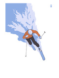 Downhill Skier Stylized - Male Poster by Lantern Press