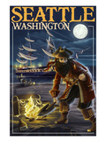 Seattle, Washington - Pirate and Treasure Art by  Lantern Press