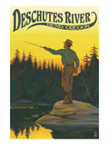 Deschutes River - Bend, Oregon - Fisherman Casting Art by  Lantern Press