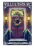 Williamsburg, Virginia - Christmas Door Prints by  Lantern Press