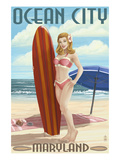 Ocean City, Maryland - Surfer Pinup Girl Prints by  Lantern Press
