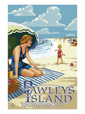 Pawleys Island, South Carolina - Woman on Beach Poster by Lantern Press 