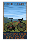 Woodstock, New York - Ride the Trails Bike Scene Print by  Lantern Press