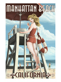 Manhattan Beach, California - Lifeguard Pinup Prints by  Lantern Press