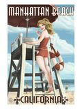 Manhattan Beach, California - Lifeguard Pinup Prints by  Lantern Press