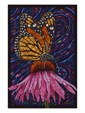 Monarch Butterfly - Paper Mosaic Plakater af Lantern Press