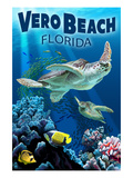 Sea Turtles - Vero Beach, Florida Poster by  Lantern Press