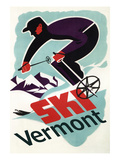 Ski Vermont - Retro Skier Prints by  Lantern Press
