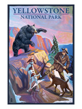 Yellowstone National Park - Bear Hunting Scene Prints by  Lantern Press
