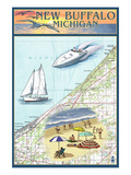 New Buffalo, Michigan - Nautical Chart Prints by  Lantern Press
