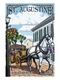 St. Augustine, Florida - Carriage Scene Prints by  Lantern Press