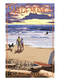 Santa Monica, California - Sunset Beach Scene Kunstdruck von Lantern Press