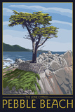 Pebble Beach, California - Lone Cypress Tree Prints by  Lantern Press