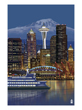 Seattle, Washington at Night - Image Only Posters by  Lantern Press