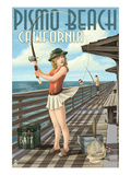 Pismo Beach, California - Fishing Pinup Girl Art by Lantern Press