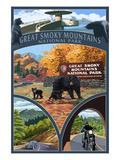 Montage - Great Smoky Mountains National Park, TN Poster by  Lantern Press