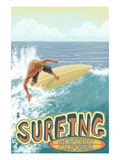 Monterey, California - Surfer Scene Poster by  Lantern Press