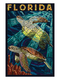 Sea Turtle Paper Mosaic - Florida Art by Lantern Press 