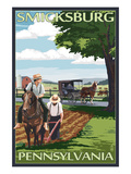 Smicksburg, Pennsylvania - Amish Farm Scene Poster af Lantern Press