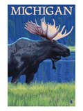 Michigan - Moose at Night Prints by  Lantern Press