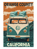 Orange County, California - VW Van Prints by  Lantern Press