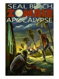 Seal Beach, California - Zombie Apocalypse Art by  Lantern Press