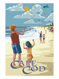 Lantern Press - Cape Cod, Massachusetts - Kite Flyers - Poster