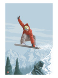 Snowboarder Jumping Prints by  Lantern Press