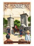 St. Augustine, Florida - City Gates Prints by  Lantern Press