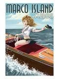 Marco Island, Florida - Pinup Girl Boating Prints by  Lantern Press