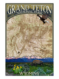 Grand Teton National Park, Wyoming - Topographical Map Premium Giclée-tryk af  Lantern Press