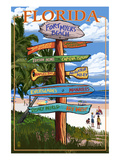 Sign Destinations - Fort Myers Beach, Florida Poster by Lantern Press