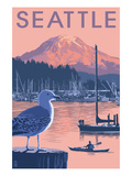 Marina and Rainier at Sunset - Seattle, Washington Print by  Lantern Press