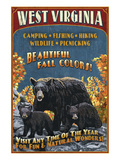 West Virginia - Black Bear Family Art by Lantern Press 