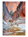 Zion National Park - Slot Canyon Prints by  Lantern Press