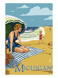 Lake Michigan - Beach Scene Poster by  Lantern Press