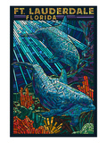 Ft. Lauderdale, Florida - Dolphin Paper Mosaic Prints by  Lantern Press